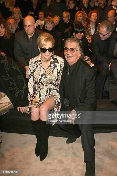 Sharon Stone during Milan Fashion Week Fall/Winter 2007 Just Cavalli Front Row and Backstage in Milan Italy