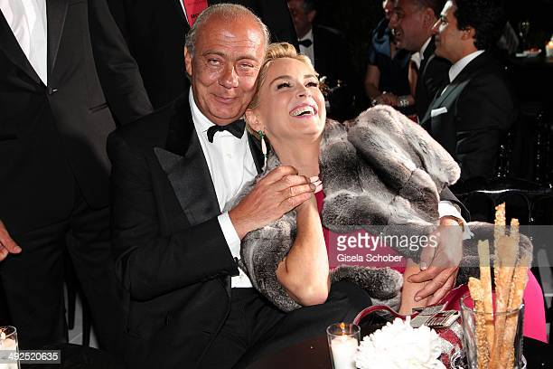 Sharon Stone Fawaz Gruosi attend the Porsche At De Grisogono 'Fatale In Cannes' Party during the 67th Cannes Film Festival on May 20 2014 in Cannes...