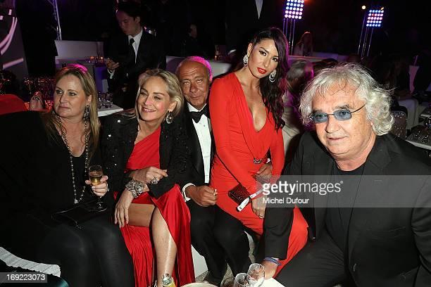 Sharon Stone Fawaz Gruosi Elisabetta Gregoraci and Flavio Briatore attend the 'De Grisogono' Party At Hotel Du Cap Eden Roc on May 21 2013 in Antibes...