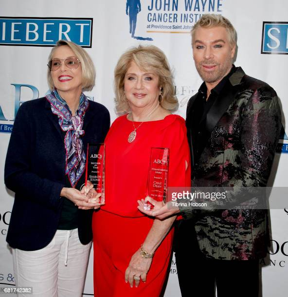 Sharon Stone Gloria Gebbia and Chaz Dean attend The Associates for Breast and Prostate Cancer Studies annual Mother's Day Luncheon at Four Seasons...