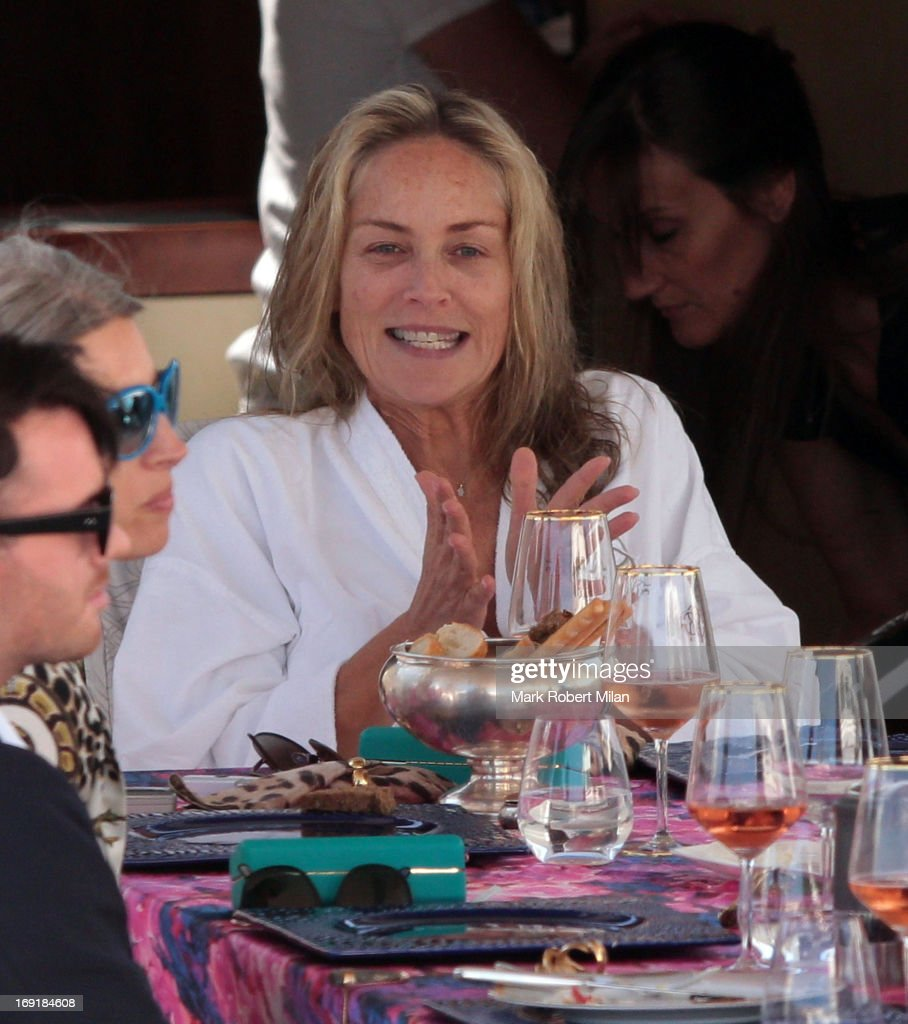<a gi-track='captionPersonalityLinkClicked' href=/galleries/search?phrase=Sharon+Stone&family=editorial&specificpeople=156409 ng-click='$event.stopPropagation()'>Sharon Stone</a> has lunch aboard Roberto Cavalli's yacht during The 66th Annual Cannes Film Festival on May 21, 2013 in Cannes, France.