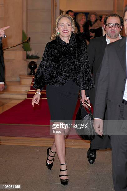 Sharon Stone leaves Ritz Hotel on January 15 2011 in Paris France