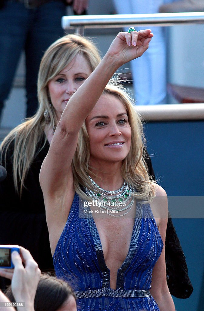 Sharon Stone leaving Roberto Cavalli's yacht during The 66th Annual Cannes Film Festival on May 21, 2013 in Cannes, France.