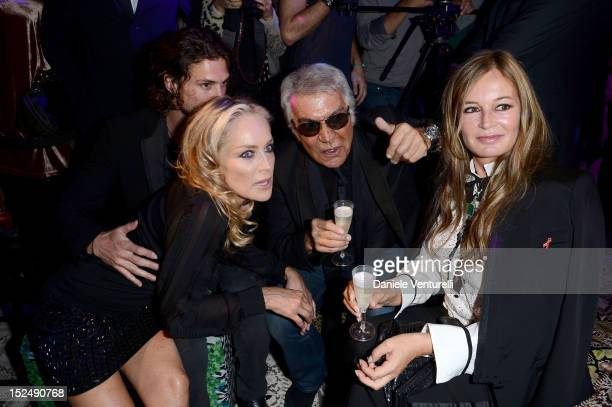 Sharon Stone Martin Mica Roberto Cavalli and Eva Cavalli attend the new Just Cavalli boutique opening party as part of Milan Womenswear Fashion Week...