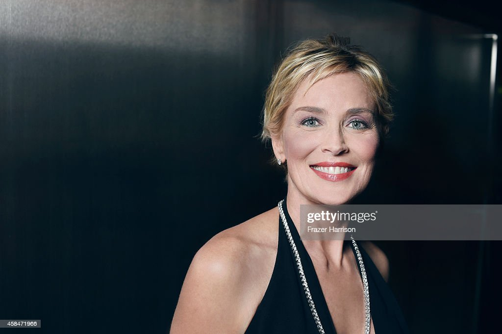 Sharon Stone poses for a portrait at the amfAR LA Inspiration Gala on October 29, 2014 in Los Angeles, California.