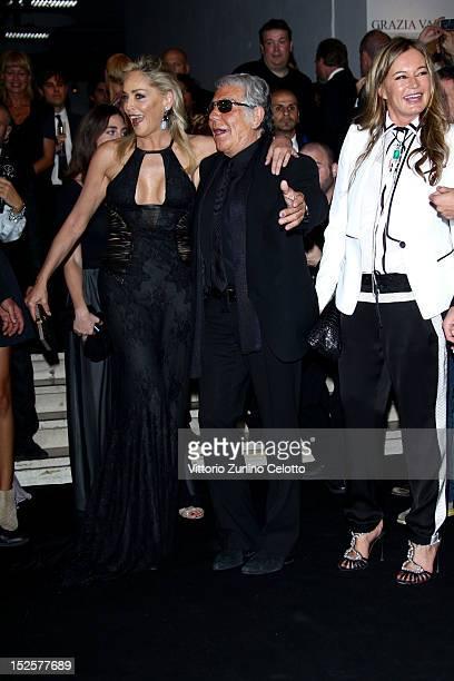Sharon Stone Roberto Cavalli and Eva Cavalli attend amfAR Milano 2012 during Milan Fashion Week at La Permanente on September 22 2012 in Milan Italy