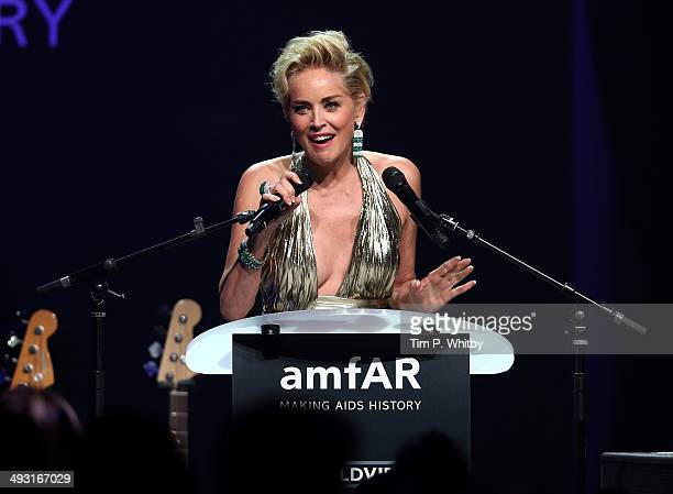 Sharon Stone speaks at amfAR's 21st Cinema Against AIDS Gala Presented By WORLDVIEW BOLD FILMS And BVLGARI at Hotel du CapEdenRoc on May 22 2014 in...