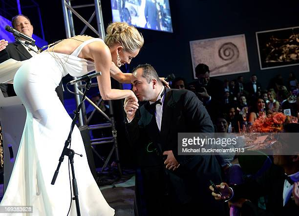 Sharon Stone speaks on stage as part of amfAR's 20th Annual Cinema Against AIDS during The 66th Annual Cannes Film Festival at Hotel du CapEdenRoc on...