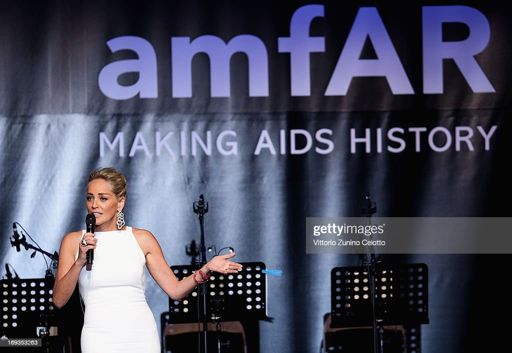 <a gi-track='captionPersonalityLinkClicked' href=/galleries/search?phrase=Sharon+Stone&family=editorial&specificpeople=156409 ng-click='$event.stopPropagation()'>Sharon Stone</a> speaks on stage at amfAR's 20th Annual Cinema Against AIDS during The 66th Annual Cannes Film Festival at Hotel du Cap-Eden-Roc on May 23, 2013 in Cap d'Antibes, France.