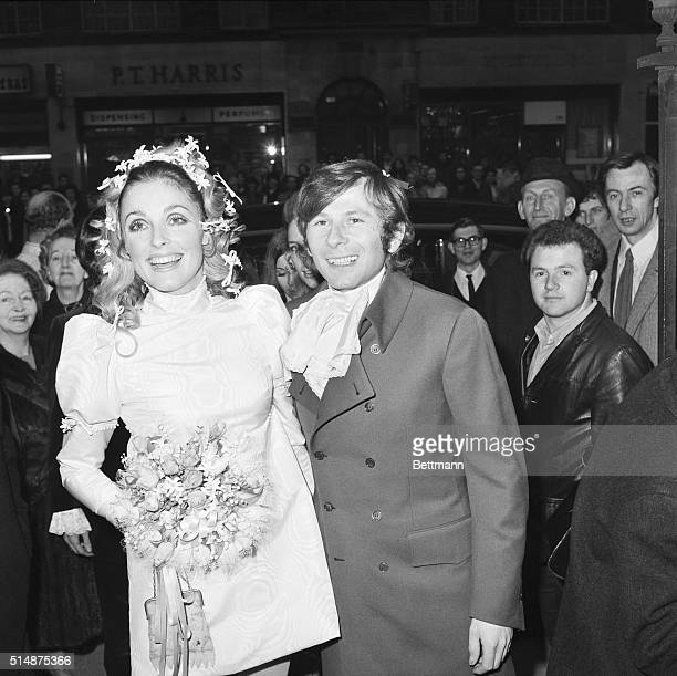Sharon Tate and Roman Polanski just after their wedding ceremony in London England