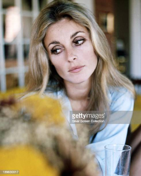 Sharon Tate US actress wearing a light blue blouse circa 1965
