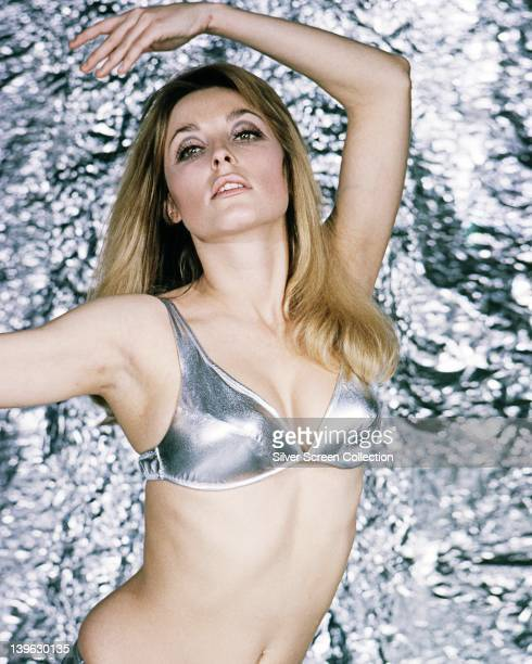 Sharon Tate US actress wearing a metallic silver bikini in a studio portrait against a silver background circa 1965