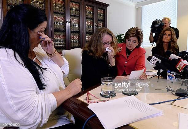 Sharon Van Ert reacts as Pamela Abeyta and Lisa Christie former Mrs America 19971998 three new alleged sexual assault victims of comedian Bill Cosby...