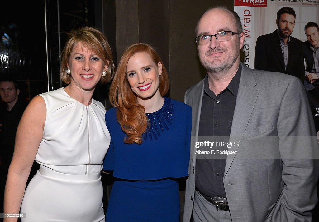 <a gi-track='captionPersonalityLinkClicked' href=/galleries/search?phrase=Sharon+Waxman&family=editorial&specificpeople=233500 ng-click='$event.stopPropagation()'>Sharon Waxman</a>, CEO and Editor in Chief of TheWrap, actress <a gi-track='captionPersonalityLinkClicked' href=/galleries/search?phrase=Jessica+Chastain&family=editorial&specificpeople=653192 ng-click='$event.stopPropagation()'>Jessica Chastain</a> and Steve Pond, Awards Editor for TheWrap attend TheWrap 4th Annual Pre-Oscar Party at Four Seasons Hotel Los Angeles at Beverly Hills on February 20, 2013 in Beverly Hills, California.