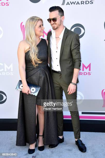 Sharona Nomder Kaikov and songwriter Nitzan 'KKOV' Kaikov attend the 52nd Academy Of Country Music Awards at Toshiba Plaza on April 2 2017 in Las...