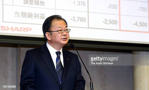 Sharp Corp President Takashi Okuda attends the midyear financial result press conference on November 1 2012 in Tokyo Japan Sharp revised their fiscal...
