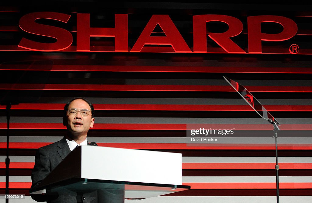 Sharp Electronic Marketing Company of America Chairman and CEO Toshi Osawa speaks at a press event at the Mandalay Bay Convention Center for the 2013 International CES on January 7, 2013 in Las Vegas, Nevada. CES, the world's largest annual consumer technology trade show, runs from January 8-11 and is expected to feature 3,100 exhibitors showing off their latest products and services to about 150,000 attendees.