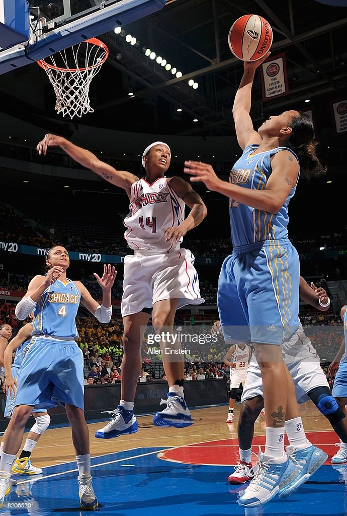 B Sharp of the Chicago Sky goes to the basket under pressure against Deanna Nolan of the Detroit Shock during the WNBA game on July 16 2008 at The...