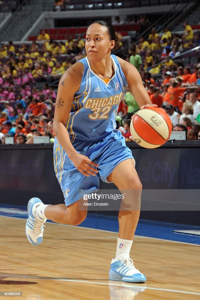 B Sharp of the Chicago Sky moves the ball against the Detroit Shock during the WNBA game on July 16 2008 at The Palace of Auburn Hills in Auburn...