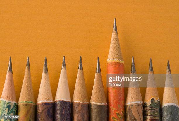 Sharp Pencil Above Peers, an Italian Writing Instrument Education Concept