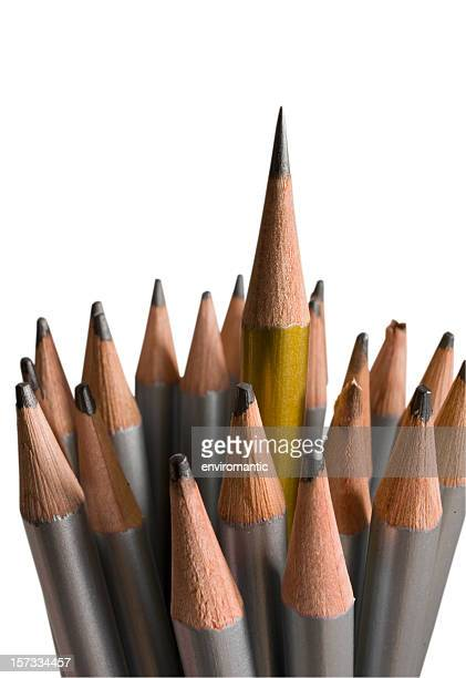 Sharp pencil standing proud of blunt ones, clipping path included.