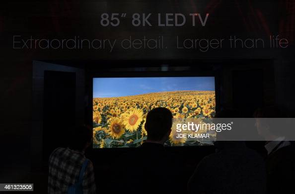 Sharp presents an 86inch 8K LED TV during the 2014 International CES at the Las Vegas Convention Center on January 7 2014 in Las Vegas Nevada CES the...