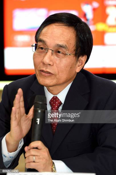 Sharp President Tai Jengwu speaks during a press conference at the company headquarters on March 13 2017 in Sakai Osaka Japan