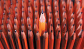 Sharp pencil sticking out of group of blunt pencils