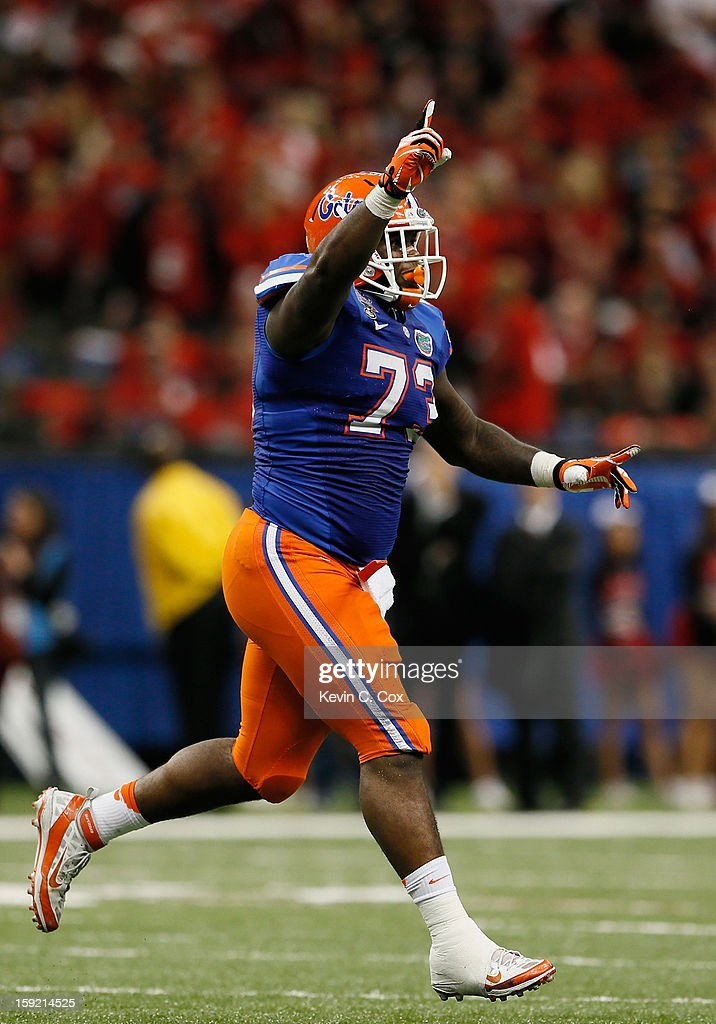 Sharrif Floyd #73 of the Florida Gators reacts after a teammate blocked a field goal against the Louisville Cardinals during the Allstate Sugar Bowl at Mercedes-Benz Superdome on January 2, 2013 in New Orleans, Louisiana.
