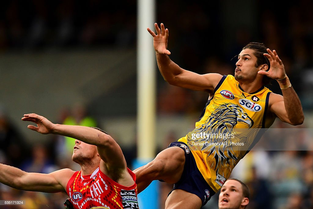 Sharrod Wellingham of the Eagles flies early for a mark during the 2016 AFL Round 10 match between the West Coast Eagles and the Gold Coast Suns at Domain Stadium on May 29, 2016 in Perth, Australia.
