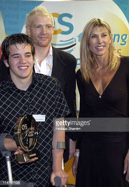 Sharron Davies and Iwan Thomas with the winners during OCS Young Sportsperson Awards 2005 at Brit Oval in London Great Britain