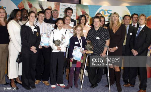 Sharron Davies with the winners during OCS Young Sportsperson Awards 2005 at Brit Oval in London Great Britain