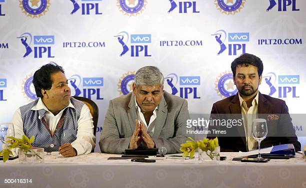 Shashank Manohar Head of the Board of Control for Cricket in India BCCI honorary secretary Anurag Thakur and Indian Premier League Chairman Rajiv...