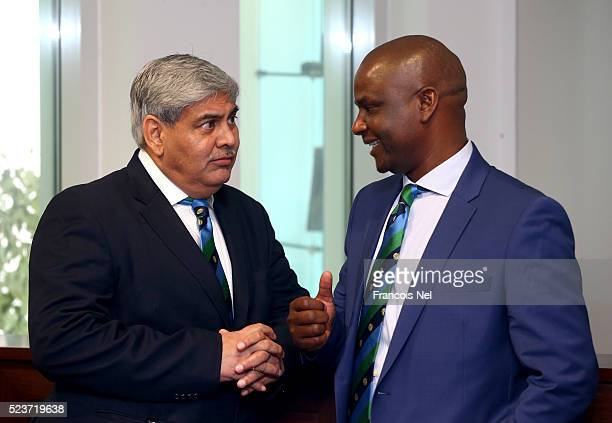 Shashank Manohar ICC Chairman and Tavenwa Mukuhlani Chairman Zimbabwe Cricket attends the ICC board meeting at the ICC headquarters on April 24 2016...