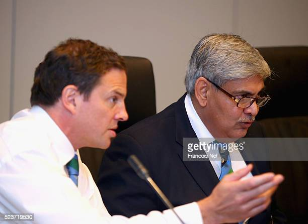 Shashank Manohar ICC Chairman attends the ICC board meeting at the ICC headquarters on April 24 2016 in Dubai United Arab Emirates