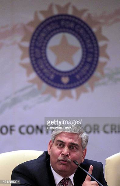 Shashank Manohar new President of BCCI during a press conference at MCA at Churchgate on October 4 2015 in Mumbai India Shashank Manohar took over as...