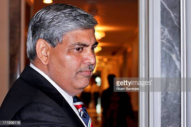 Shashank Manohar President of the BCCI and IDI Board of Directors from India makes his way to the ICC Board meeting at the Taj Palace Hotel on April...