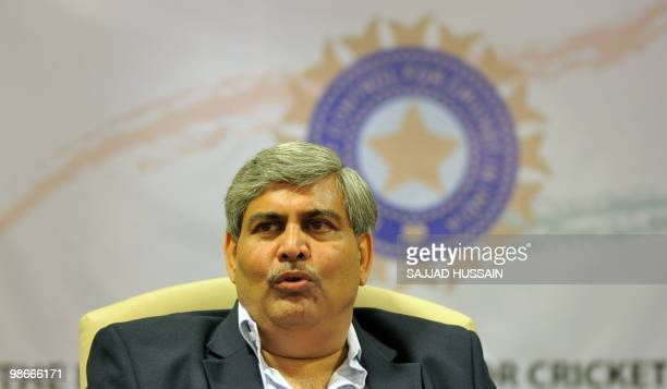 Shashank Manohar president of the Board of Control for Cricket in India addresses a news conference at BCCI headquarters in Mumbai on April 26 2010...