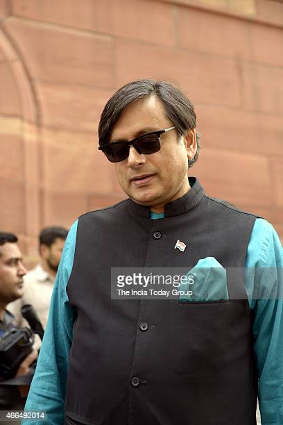 Shashi Tharoor at Parliament during Parliament Budget Session