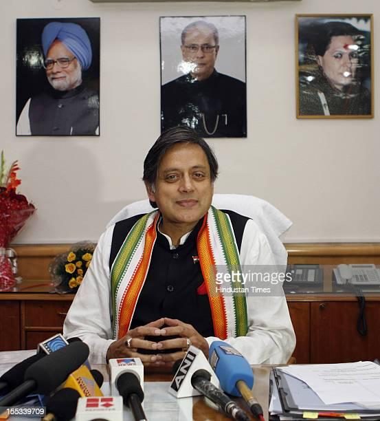 Shashi Tharoor speaks as Minister of State for Human Resource Development at Shastri Bhavan on November 2 2012 in New Delhi India