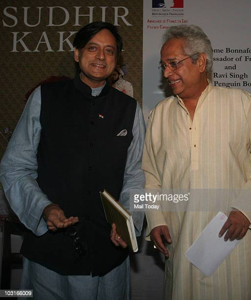 Shashi Tharoor with author Sudhir Kakar at the launch of his book The Crimson Throne in New Delhi on July 23 2010