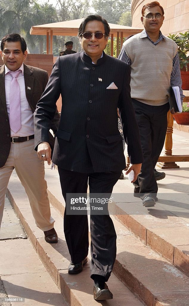 Shashi Tharoor,MOS HRD at Parliament House during the winter session, on November 23, 2012 in New Delhi, India.
