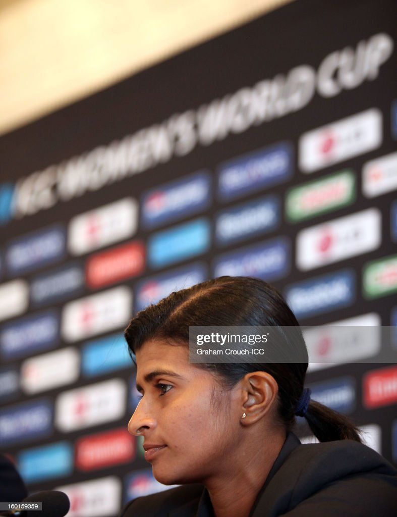 Shashikala Siriwardena of Sri Lanka at the ICC Womens World Cup trophy attends the Captains Group A Press Conference at the Taj Mahal Palace Hotel on January 27, 2013 in Mumbai, India.