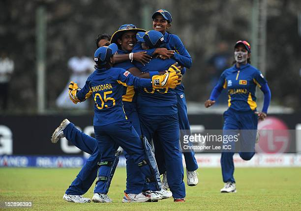 Shashikala Siriwardena of Sri Lanka is hoisted in the air after she catches out Tremayne Smartt of West Indies during the ICC Women's World Twenty20...