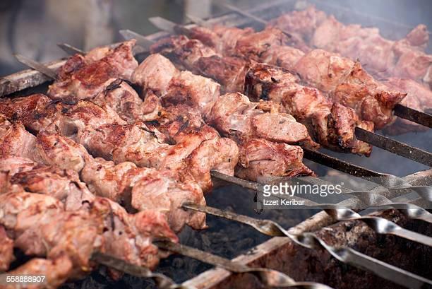 Shashlik Russian meat kebab, Kazan, Russia