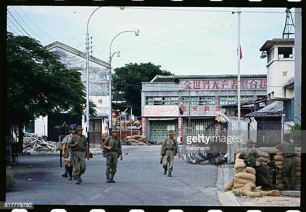 Gurkha troops patrol the British Chinese border July 9th a day after the police boarder post in the village was attacked by Communist Chinese In the...