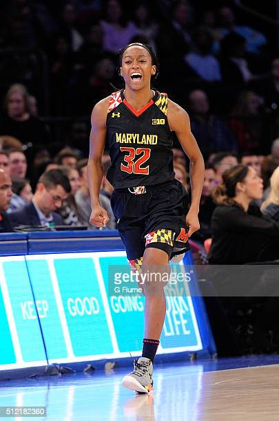 Shatori WalkerKimbrough of the Maryland Terrapins celebrates after scoring against the Connecticut Huskies during the Maggie Dixon Classic at Madison...