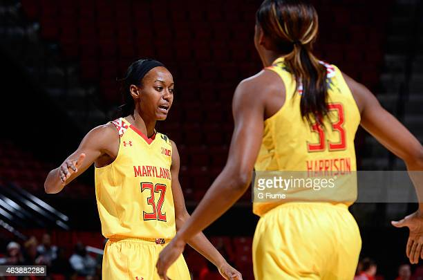 Shatori WalkerKimbrough of the Maryland Terrapins celebrates during the game against the Rutgers Scarlet Knights at the Xfinity Center on February 10...