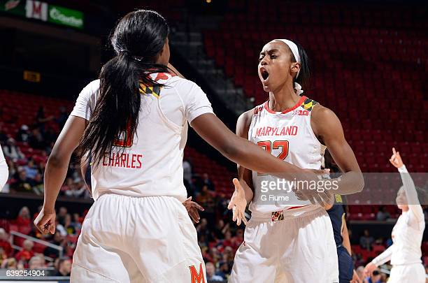 Shatori WalkerKimbrough of the Maryland Terrapins celebrates during the game against the Michigan Wolverines at Xfinity Center on January 19 2017 in...