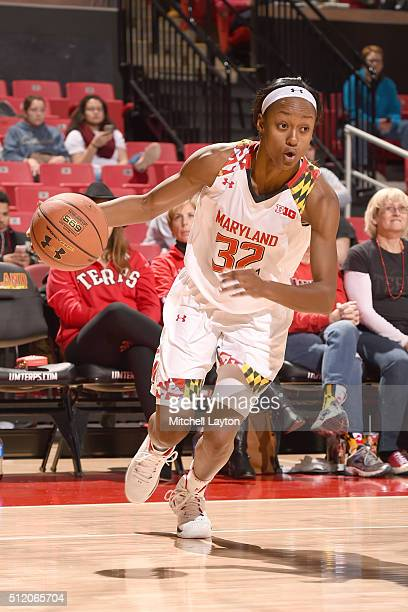 Shatori WalkerKimbrough of the Maryland Terrapins dribbles the ball during a college basketball game against the Nebraska Cornhuskers at the Xfinity...